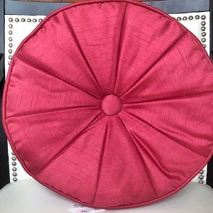 ROSE COLOURED FABRIC ROUND THROW PILLOW